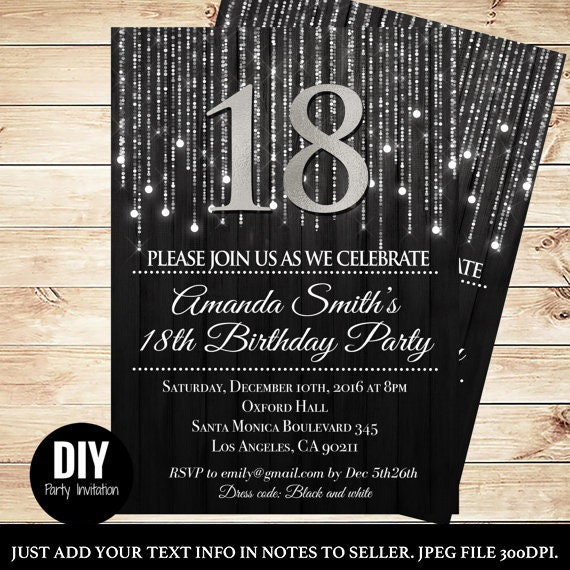 Black and Silver 18th birthday invitations - Elegant 18th ...