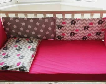 Baby bedding set,crib bumper,elephant print,elephant nursery,crib bedding,bright baby bedding,baby shower gift,baby girl bedding,crib sheet