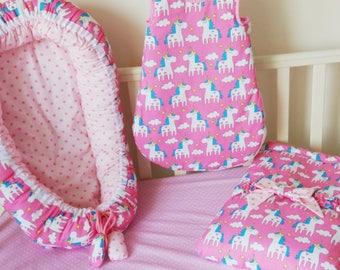 Baby set,baby blanket,baby nest,baby cocoon,unicorn pattern,co-sleeper,baby shower gift,new baby gift,Sleeping bag,baby nightwear