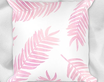 Palm Leaves - 18x18 Square Pillow Case With Or Without Stuffing - Tropical Palm Tree Leaf Branches Summer Home Decor Tropics Nature Plants