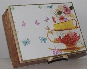 Decoupaged tea box, wooden gift, kitchen box, home decor, gift idea