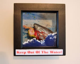 Nautical- Dark Humour- Framed Great White Shark Attack-Cyrus The Surfer