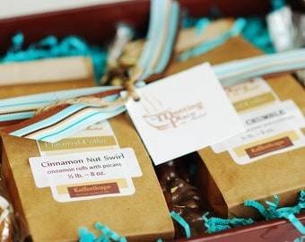Coffee Birthday Gift Set in Chocolate Brown & Tiffany Blue, Gift Baskets for Women, Coffee Sampler, Gift Basket, Gift Basket for Her