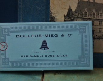 French Vintage Cotton Box with Original Thread/Genuine DMC Threads/Paris, Dollfus-Mieg & Cie Pink Thread/Pretty Vintage French Thread