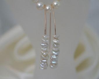 Keshi Pearl rose gold plated earrings of keshi pearls earrings rose gold filled