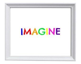 Imagine 8x10 Instant Download Printable, Childrens Room, Nursery Decor, Playroom Art, Art Room, Kids Art, Playroom Print, Nursery Decor