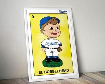 Dodgers El Bobblehead Loteria Poster