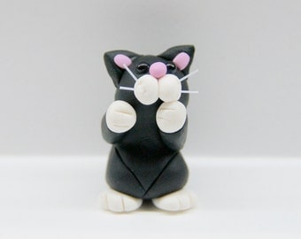 Adorable Black and White Polymer Cat, Perrrrfect Gift for any Cat Lover
