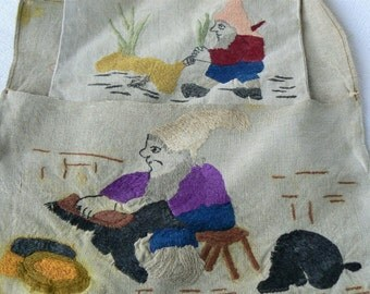 Antique LINEN Embroidery GNOMES/ Linen Bags Embroidered/ Gnomes/ Bags for Onions & Brushes/ Latvia 1930s