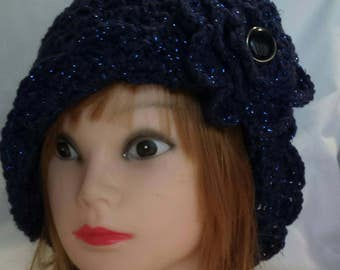 Hand Crochet Cloche Hat with Flower