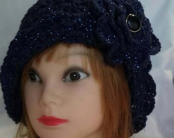 Hand Crochet Cloche Hat with Flower