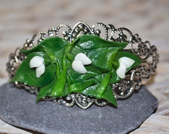 Snowdrop Bangle, Bracelet.  Inspired by Spring, handmade from Polymer Clay.  Made To Order.