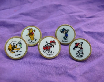 Vintage Set of 5 Metal Disney Golf Ball Markers
