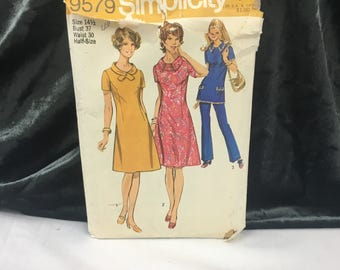 1971 Separates Pattern, Simplicity 9579, Dress Tunic Pants, 1970's Style, Vintage Pattern, Size 14.5 Bust 37, Sewing Pattern, Vintage Sewing