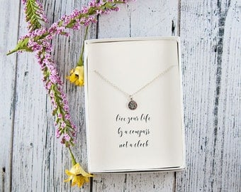 Compass necklace, live by compass not clock, graduation gift, dainty necklace, silver compass, travel jewelry, journey necklace
