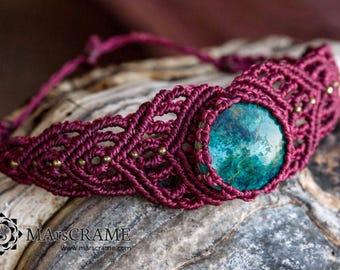 MELANTHA. Chrysocolla macrame bracelet, macramé, micro macrame, gift, woman gift, yoga jewelry, jewelry, macrame jewelry, chakra, jewelry