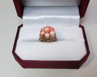 Vintage 14K Angel Skin Coral Ring