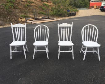 Farmhouse Chairs  set of four vintage farm chairs painted with your choice of color dining home decor kitchen custom