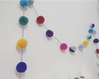 Pompom garland, modern handmade multicoloured pompom garland, pompom party decoration, pompom garland home decor