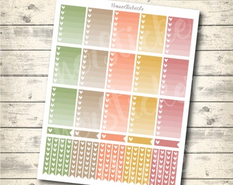 Ombre Heart Checklist, Mambi Happy Planner Printable Stickers, Fall, Pastel Full Box, Heart Checklist, mambi printable