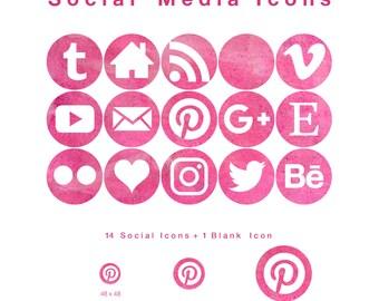 15 Web & Blog Social Media Icons - Crimson Watercolour Circles- PNG files