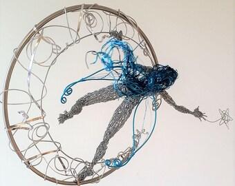 Blue Moon Fairy,unique Home Decor,Steel Wire sculpture,Reaching for Stars,OOAK birthday gift,original art statue,crescent moon magical elf