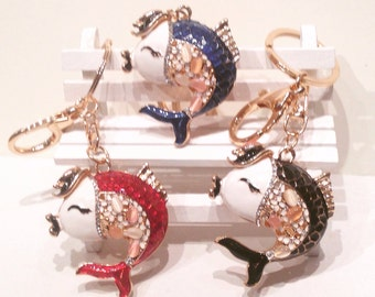 Fish Keychain talisman, good luck wealth, costume jewelry Crystal, swarovski stones, Feng Shui, protect from accidents prosperity, wealth