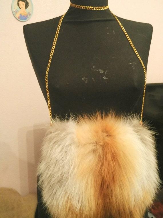 Shoulder bag, fox fur bag