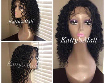 Lace front deep curly wig, Lace frontal wig, lace front, Malaysian virgin hair