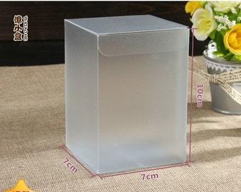 50ps Spot transparent PVC box boutique box gift box toy box 7 * 7 * 10cm frosted box