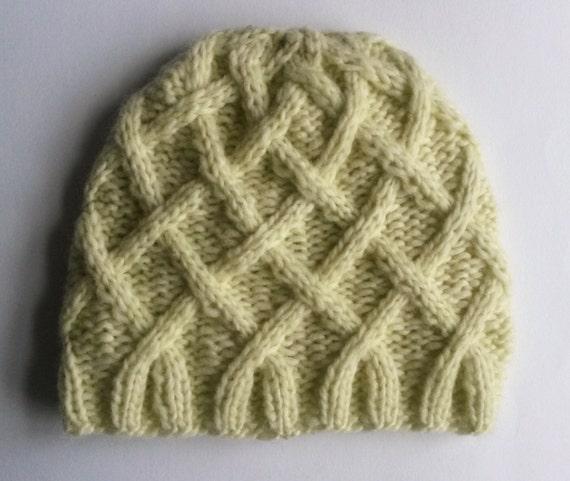 Aran Baby Beanie: handknit baby hat in luxury Rowan baby yarn. Made in Ireland. 3-6 month size. Original design. Baby shower gift. Unisex.