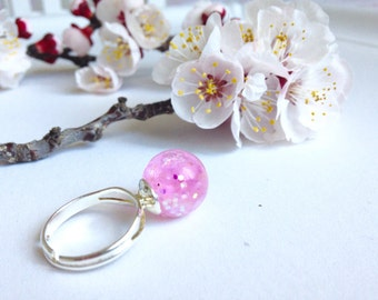 Magic ring waterball iridescent Crystal Rainbow pink base in steel