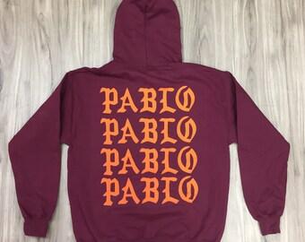 I Feel Like Pablo Pablo Pablo Pablo Hoodie,yeezus,yeezy,kanye west, kanye merch (orange font)