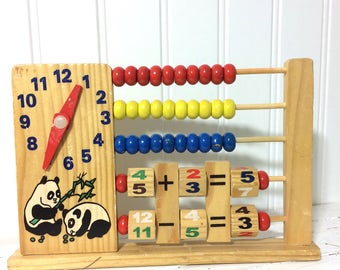 Vintage Wooden Child's Abacus Bead Board