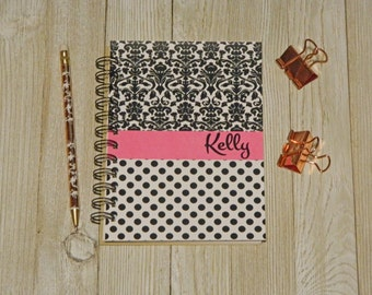 Black and Pink Damask Personalized Notebook/Journal