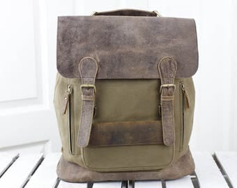 Vintage Large Leather & Canvass  Backpack 14025