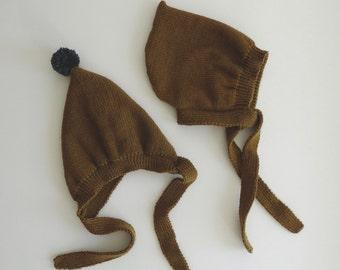 Dark mustard Pixie hat 100% fine Merino wool