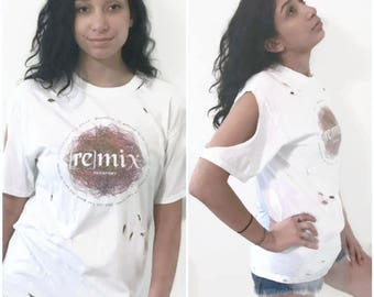 vintage Ripped White T-Shirt Cut out Tee Fit Small and Medium