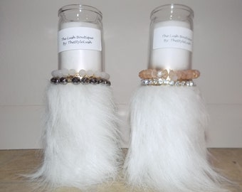 Faux Fur Pillar Candles