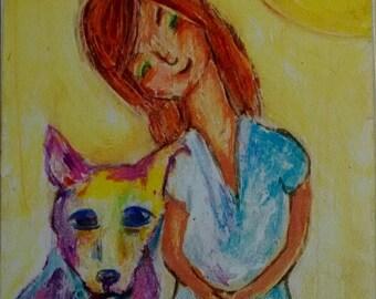 Artist trading card print,, pet art,dog portrait, atc, ACEO,dog,sunrise, ginger,abstract,art,dog art, portrait art