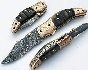 Pocket folding Damascus hunting knife