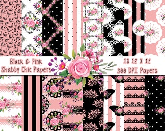 Pink and Black Shabby Paper Pack | 18 Digital Papers | Digital Paper | Printable Paper | Scrapbooking | Beach | Clip Art | Cute | Summer
