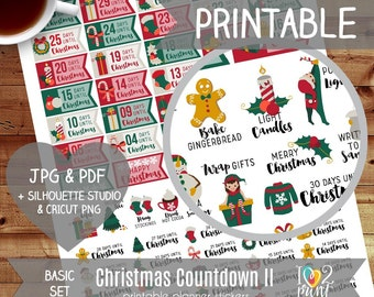Christmas Countdown Planner Stickers, EC Printable Planner Stickers, Christmas Stickers, Christmas Bucket List Stickers - Cut Files