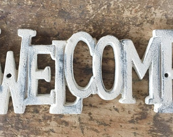 Cast Iron Distressed Painted Welcome Sign