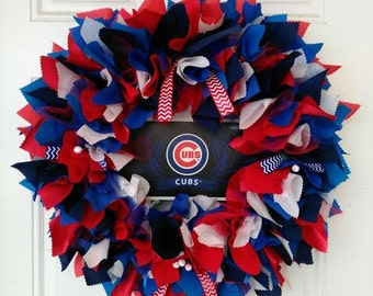 Chicago Cubs Wreath - Chicago Cubs Fans - Chicago cubs home decor - Chicago cubs gifts