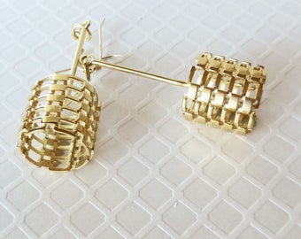 Bricks - 14KT Gold Plated Earrings Using 3D Printing Technology - Made-to-Order