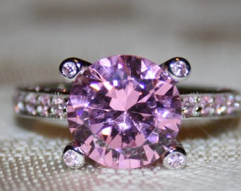 BREATHTAKING 3 CT+ PINK Sapphire & Sterling Silver Ring!
