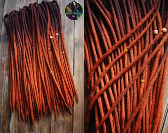 Set of wool DE dreads shades of dark brown to red double ended dreadlocks by Alice Dreads