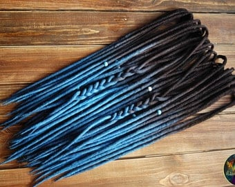 Set of wool DE dreads shades of dark brown to blue double ended dreadlocks by Alice Dreads