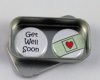 Get Well Soon Magnet Gift Set with Gift Tin, Sympathy, Fun Greeting Card Alternative, Handmade, Keepsake, Momento